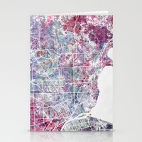 detroit Stationery Cards featuring Detroit map by MapMapMaps.Watercolors