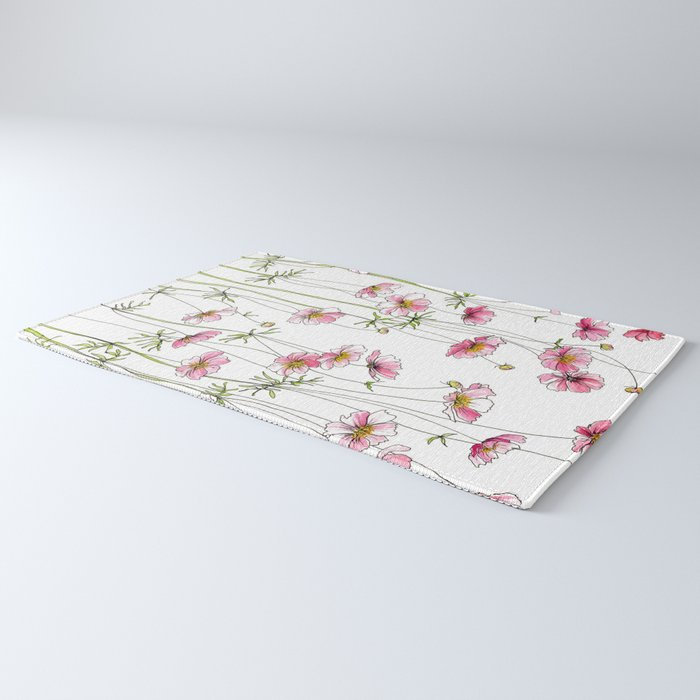 Pink Cosmos Flowers Rug