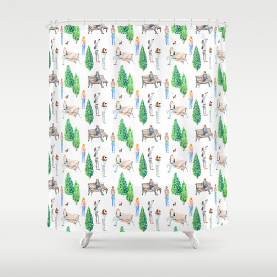 girls in the park pattern Shower Curtain by Anyuka