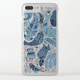 Arctic animals. Polar bear, narwhal, seal, fox, puffin, whale Clear iPhone Case