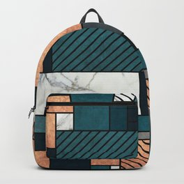 Random Pattern - Copper, Marble, and Blue Concrete Backpack