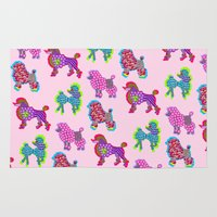 poodle Area & Throw Rugs featuring Poodle Mania by Elizabeth Kate