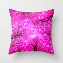 Black Trees Hot Pink Space Throw Pillow