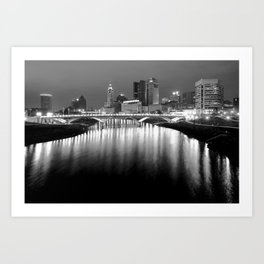 The Night Lights of Columbus Ohio's Skyline Reflections Art Print