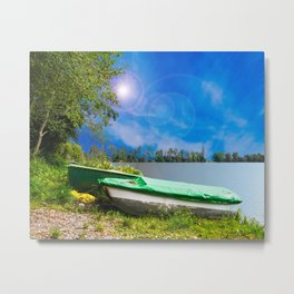 two boats at a lake Metal Print