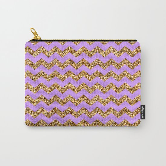 Purple Gold Glitter Chevron Carry-All Pouch