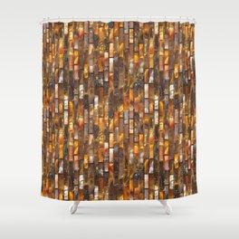 Gold Glass Tile Texture Shower Curtain