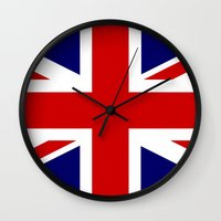 british flag Wall Clocks featuring British Union Flag by PICSL8