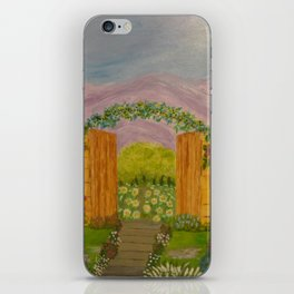 Beyond The Gate Acrylic Painting by Rosie Foshee iPhone Skin