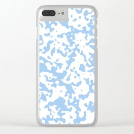 Spots - White and Baby Blue Clear iPhone Case