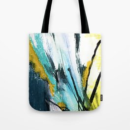 Splash: a vibrant mixed media piece in blues and yellows Tote Bag