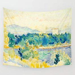 Mediterranean Landscape With a White House Watercolor Landscape Painting Wall Tapestry