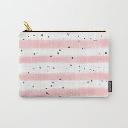 Modern blush pink black watercolor splatters stripes Carry-All Pouch