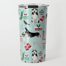 Siberian Husky christmas festive holiday gifts for husky owners by pet friendly Travel Mug