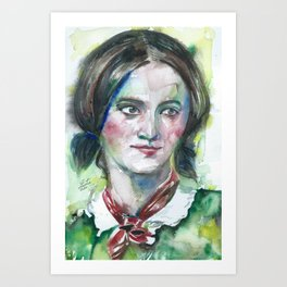 CHARLOTTE BRONTE watercolor portrait Art Print