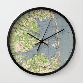 Vintage Rehoboth & Bethany Beach DE Map (1944) Wall Clock