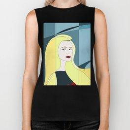 Euphoria Jaune Blonde Woman Hair Abstract Portrait Biker Tank