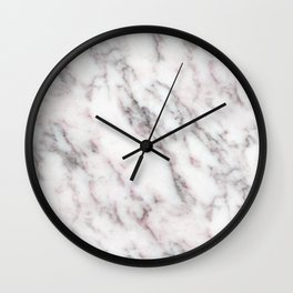 Soft Pink and Charcoal Veins on Whipped Cream Marble Wall Clock