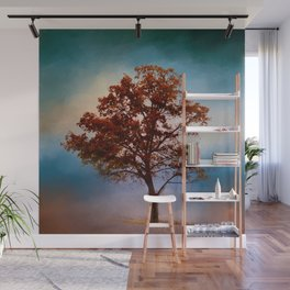 Vermillion Cotton Field Tree - Landscape Wall Mural