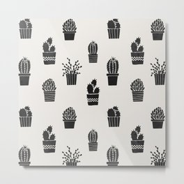 Southwestern Stamped Potted Cactus + Succulents Metal Print