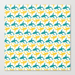 Yellow and teal shark pattern Canvas Print
