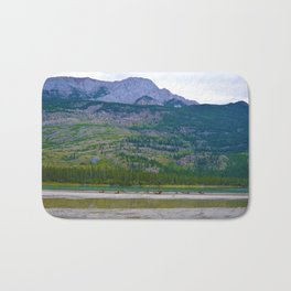 Bull Elk with his Lady Friends on the Athabasca River in Jasper National Park, Canada Bath Mat