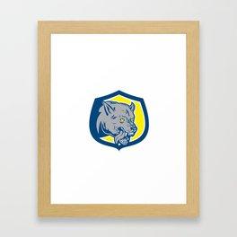 Angry Wolf Wild Dog Head Shield Retro Framed Art Print