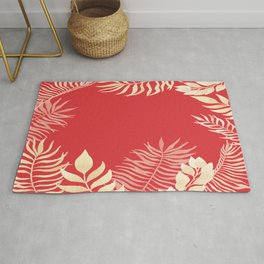 Tropical Leaves Poppy Red Rainforest Palm Beach Cottage Decor Rug