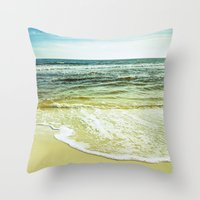 wave Throw Pillows featuring wave by Bonnie Jakobsen-Martin