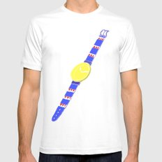 Watch_1 MEDIUM White Mens Fitted Tee