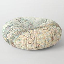 """Camille Pissarro """"Paysage avec Maisons et Mur de Cloture, Givre et Brume, Éragny"""" Floor Pillow"""