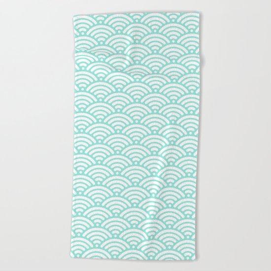 Wave Tiffany Blue Beach Towel