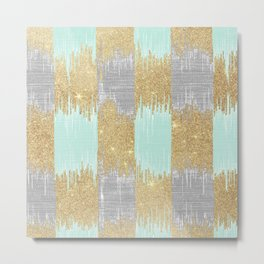 Geometric neo mint gray gold glitter ikat Metal Print