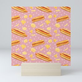 Hot Dogs and Chips - on Pink Mini Art Print