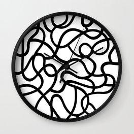 Organic River Lines - White-Black Wall Clock