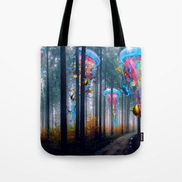 Forest of Super Electric Jellyfish Worlds Tote Bag