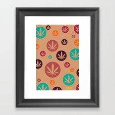 GGDUB - Burnt Orange Weed Leaf Textile~  Framed Art Print