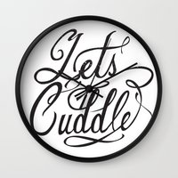 cuddle Wall Clocks featuring Lets Cuddle by Joganic