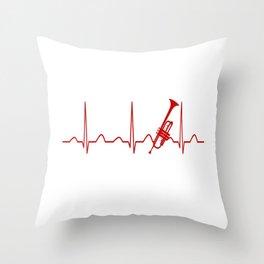 TRUMPET HEARTBEAT Throw Pillow