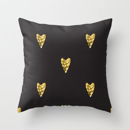 Gold hearts. Contemporary style perfect for wedding, valentines day, save the day Throw Pillow