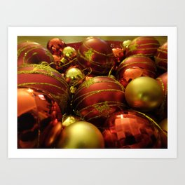 Red and Gold Festive Bauble Display Art Print
