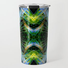 Blue Green Bright Rays,Fractal Art Travel Mug