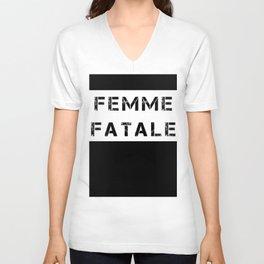 FEMME FATALE - WHITE Unisex V-Neck