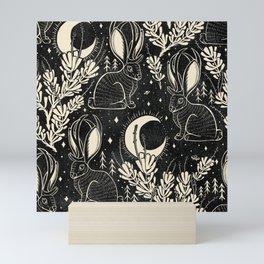 Jackalope - black and cream  Mini Art Print