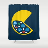 8 bit Shower Curtains featuring 8-Bit Breakfast by Byway