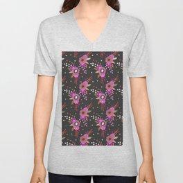 Trendy botanical pink black faux gold roses floral Unisex V-Neck