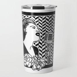 Lady Day (Billie Holiday block print blk) Travel Mug