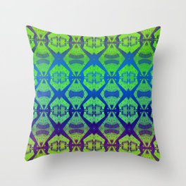 African Vintage Fabric Green Tone Gradient Throw Pillow