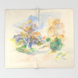 "Renoir ""Landscape with a Path between Trees"" Throw Blanket"