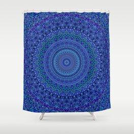 Blue Floral Ornate Mandala Shower Curtain